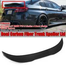 Couvercle daile pour BMW F10 5   Fiber de carbone véritable de Style PSM, botte de coffre arrière pour BMW F10 5 série 4 Dr berline 2011-2017