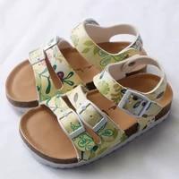 summer children sandals for girls big girl shoes kids sandal pu leather hookloop cork student kid girls sandals floral princess