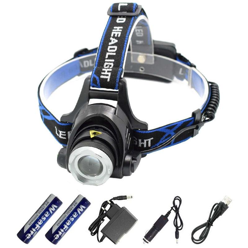Linterna de cabeza recargable de 2000LM XM-L T6, luz Led Frontal resistente al agua, con zoom 18650 linterna de cabeza, linterna Frontal, linterna de cabeza para correr