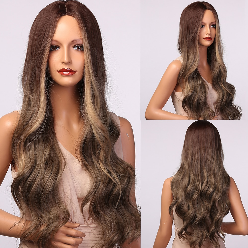 HENRY MARGU Long Body Wavy Synthetic Wigs for Women Natural Ombre Dark Brown Blonde Highlight Hair Wigs Heat Resistant Daily Wig
