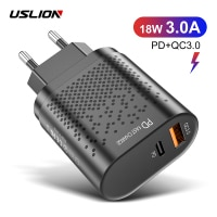 USLION 18W USB Charger PD3.0 QC3.0 Fast Charging Mobile Phone Charger Quick Charge 3.0 Adapter For iPhone Samsung Xiaomi Huawei