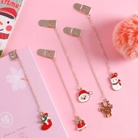 1 Pc Cute Santa Claus Metal Pendant Bookmarks Page Holder Clip Stationery School Office Escolar Papelaria