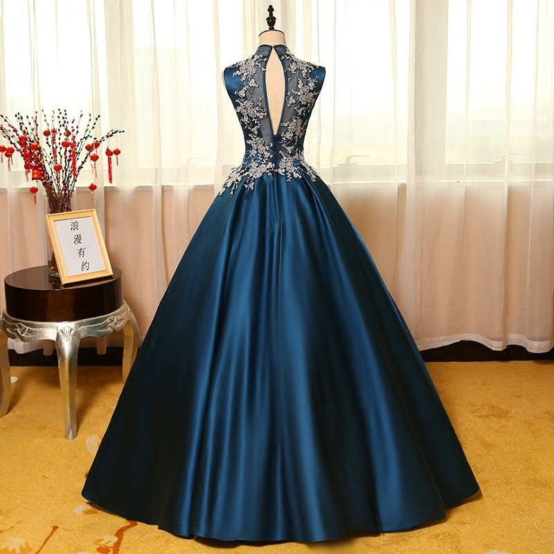 Long Evening Dress 2019 Ball Gown Sheer High Neck Lace Sleeveless Floor Length African Women Formal Evening Gowns robe de soiree