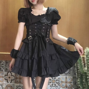 Japanese Women Black Gothic Lolita Dress Victorian Renaissance Retro Chic Punk Style Puff Sleeve Bandage Mini Dress Girl Dresses