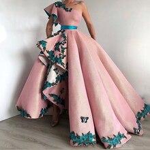 Eightree 아랍어 shinning 볼 가운 핑크 이브닝 가운 긴 파티 드레스 3d 레이스 섹시한 한 어깨 댄스 파티 드레스 robe de soiree