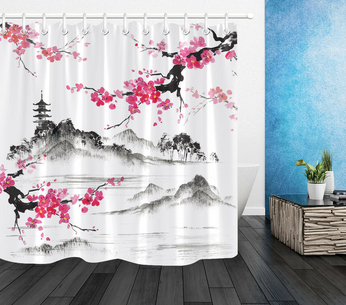 Conjunto de cortina de ducha de tela de baño estilo tradicional japonés Sakura Hills