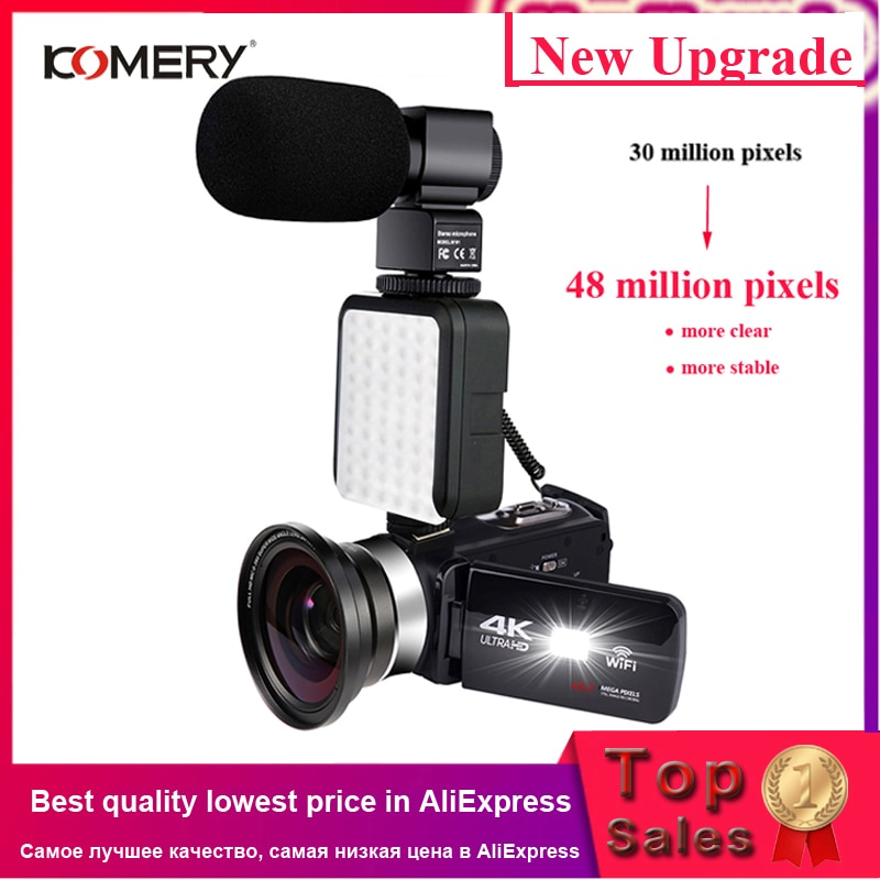 Video Camera with Microphone 4K Camcorder for Live Stream Webcam WiFi Remote Control Night Vision To