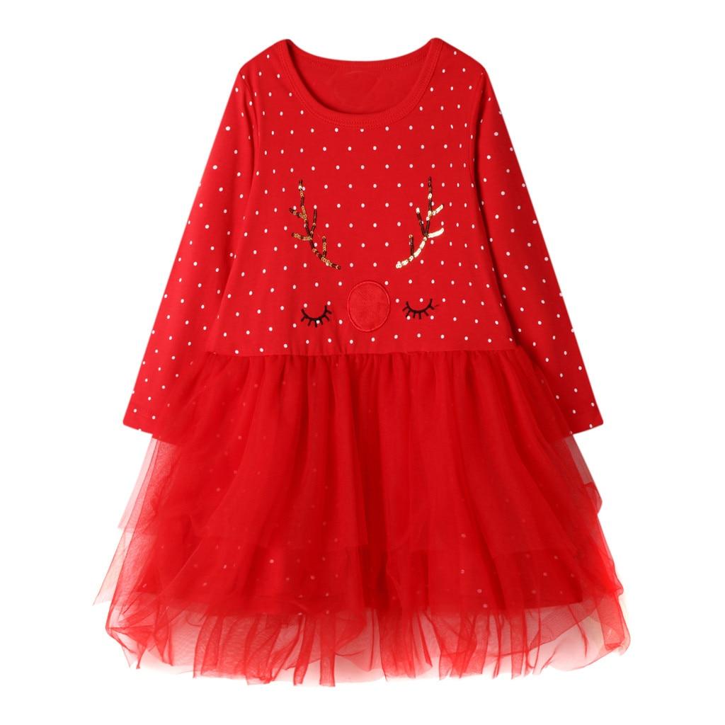 Vestido de bebé niña niño niños bebé niñas de manga larga de Navidad de punto vestido tul princesa trajes vestido bebe فساتين اطفال