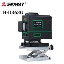 SNDWAY Laser Level 3D 12 Lines Green Beam Self-leveling Horizontal & Vertical 360 Degree Rotary Cross Sticker Laser Leveler