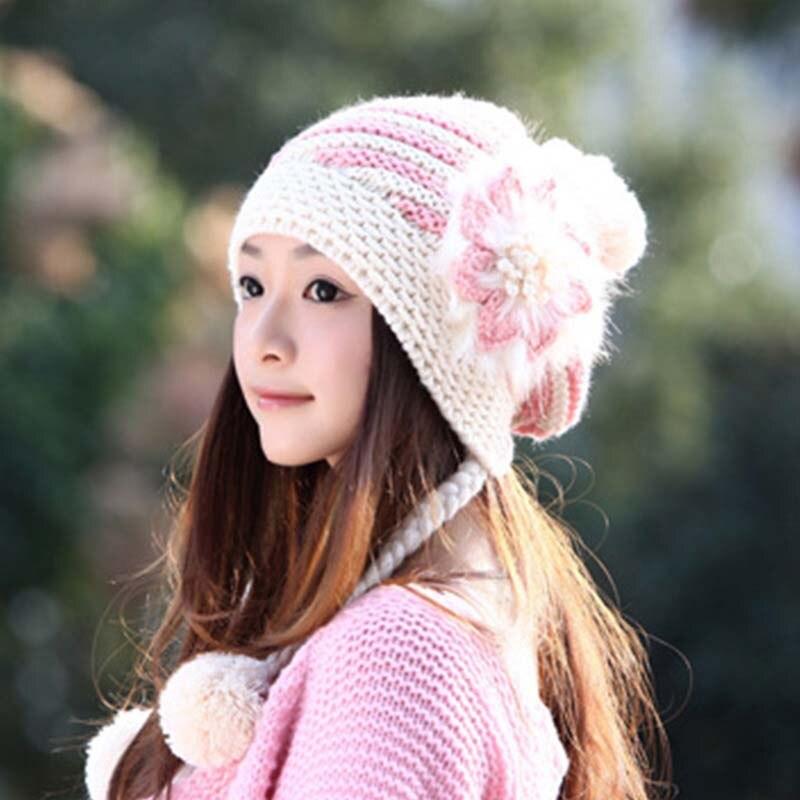 Новые модные женские зимние шапки вязаные с цветами наушники зимние теплые шапки корейские женские милые толстые Искусственные