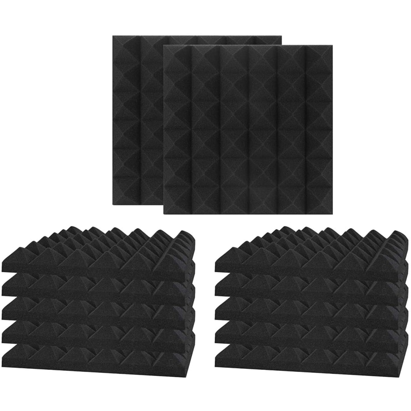 12 штук звукоизоляционные пенопластовые панели, студия клиновые плитки, огнеупорные звукопоглощающие пирамиды студия стены панели 30x30x5 см