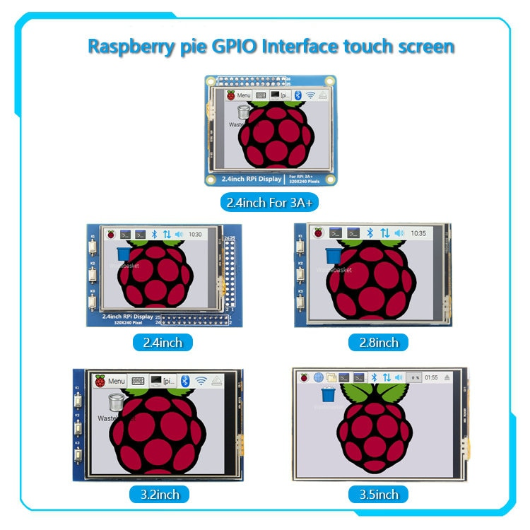 3,2/2,8/3,2/3,5 pulgadas serie GPIO 2,4 pulgadas/2,8 pulgadas/3,2 pulgadas/3,5 pulgadas visualización pantalla táctil para Raspberry Pi 4B 3B +