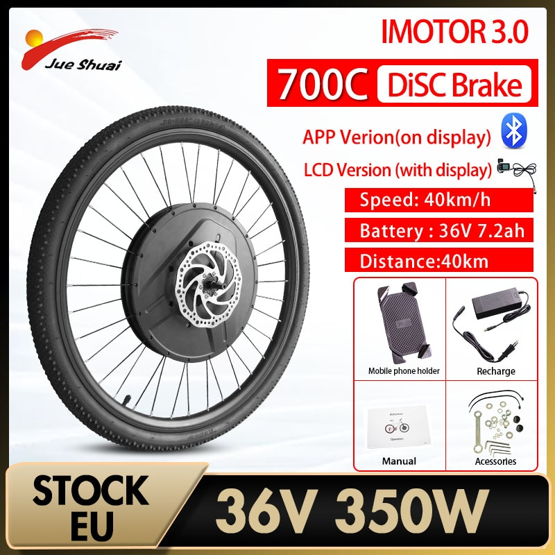 Duty Free iMotor 3.0 Electric Bicycle Conversion Kit Bluetooth Smart Electric Bike Conversion Kit 40KM/H Max Speed Front Wheel