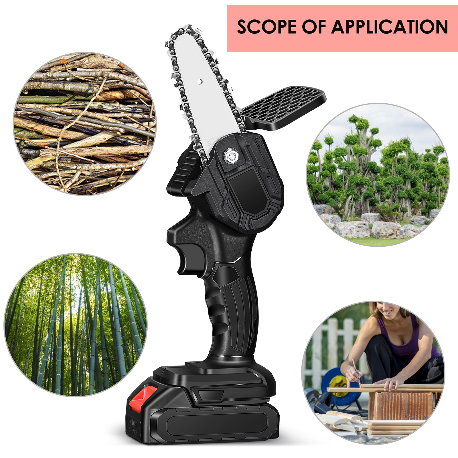 4 Inch Portable Electric Chain Saw Pruning ChainSaw Cordless Garden Tree Branch Logging Trimming Saw Woodworking Cutter Tool Kit