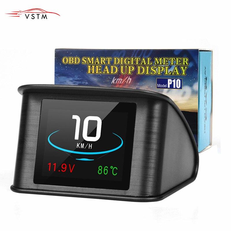 hud  P10 Automobile On-board Computer Car Digital GPS OBD Driving Computer Display Speedometer Coolant Temperature RPM Milea