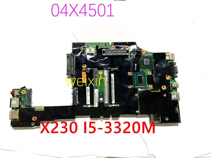 Alta qualidade para X230 04X4501 Com SR0MY I5-3320M CPU SLJ8A QM77 X230I Laptop motherboard 100% de trabalho