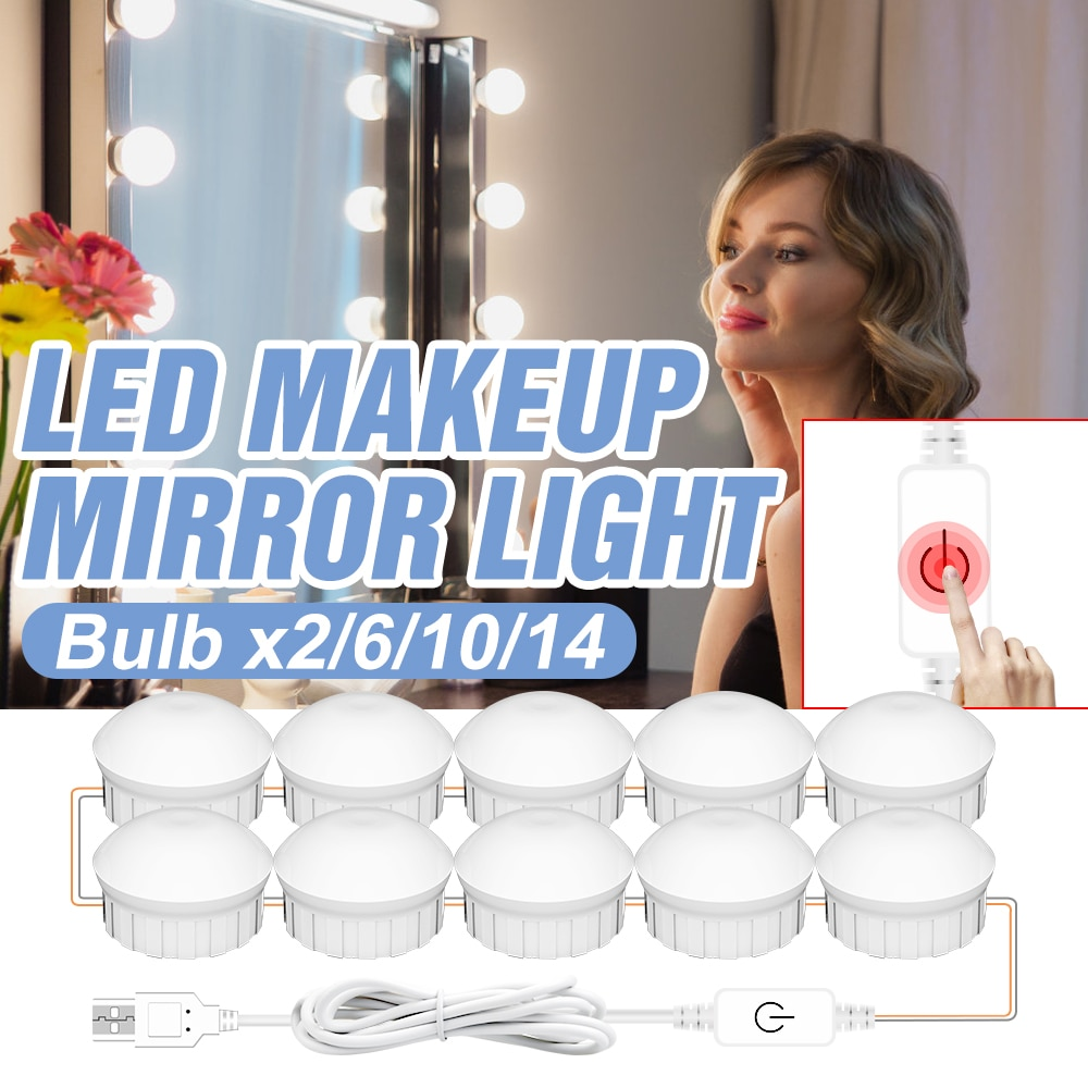 3 Color Mirror Light USB LED Makeup Vanity Light LED Wall Lamp Stepless Dimmable Dressing Table LED Lamp Hollywood Cosmetic Bulb