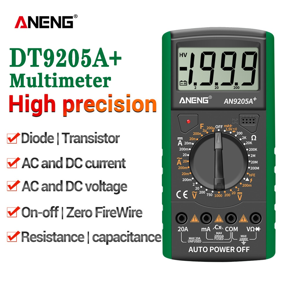 ANENG-multímetro Digital Profesional DT9205A +, medidor de Transistor eléctrico, prueba NCV, rango...