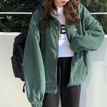 Women Plus Fleece Hoodies Autumn Streetwear Zip-up Oversize Sweatshirt Jacket Trendy Solid Pocket Tu