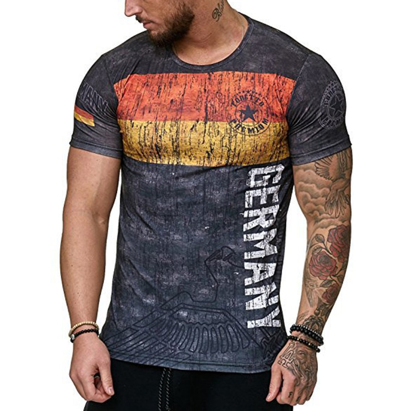 Fashion Round Neck Short Sleeves Men's Spring And Summer World Cup T-Shirt Sweat Printing Short Sleeve Breathable Top Tees 2021