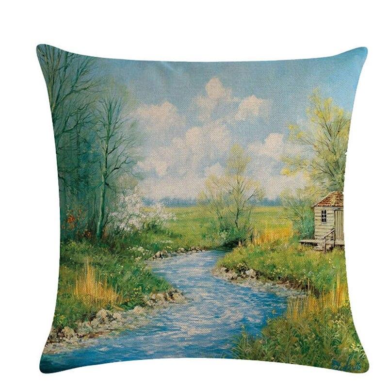 Paisaje pintura hogar Fundas de cojín Lino primavera almohada cubierta sofá cama funda de cojín decorativa de estilo nórdico 45x45cm