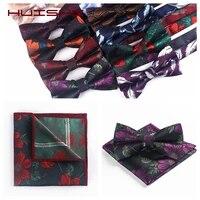huishi bow tie handkerchief mens tie set cravat fashion butterfly party wedding bowties for men girls flower paisley bowknot