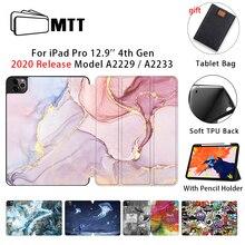 MTT étui pour tablette pour Apple iPad Pro 12.9 pouces 2020 libération souple TPU + étui à rabat en cuir pour tablette intelligente A2229 A2233