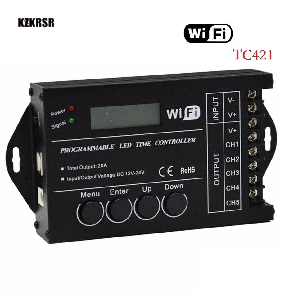 TC421 TC420 WiFi contrôleur programmable à 5 canaux led tc420 contrôleur de temps led pour 5050 3528 5630 bande led livraison gratuite
