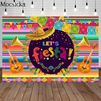 mocsicka mexican fiesta birthday party backdrops decoration floral color stripes banner photography background photo studio