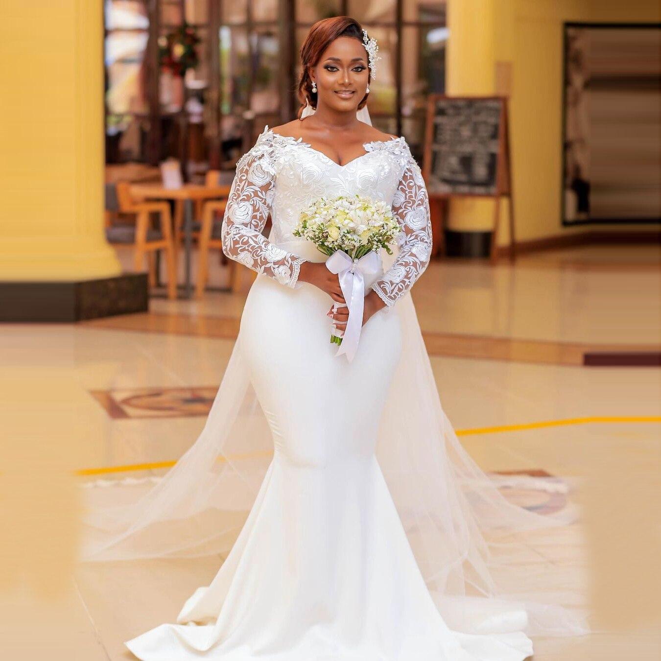 فساتين زفاف مقاس كبير من Aso Ebi برقبة على شكل V وأكمام طويلة على طراز Mermais للنساء من الدانتيل فساتين زفاف مصنوعة حسب الطلب 2021