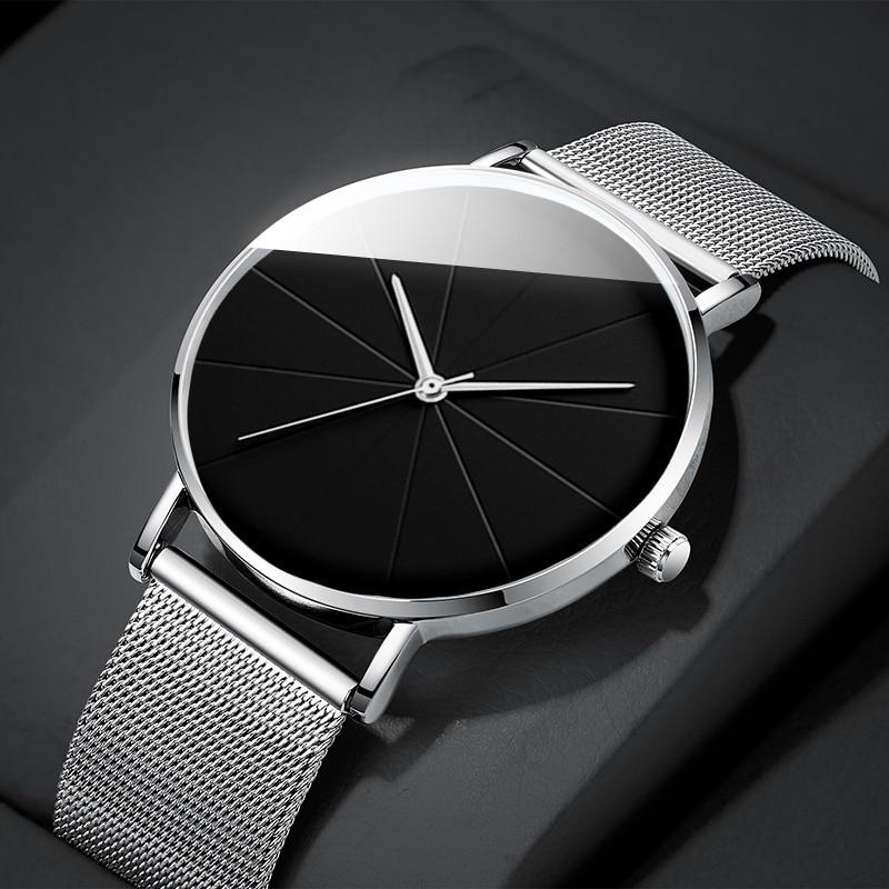Relógio de Quartzo Minimalista Moda Masculina Relógios Simples Negócios Ultra Fino Aço Inoxidável Malha Cinto Reloj Hombre 2021