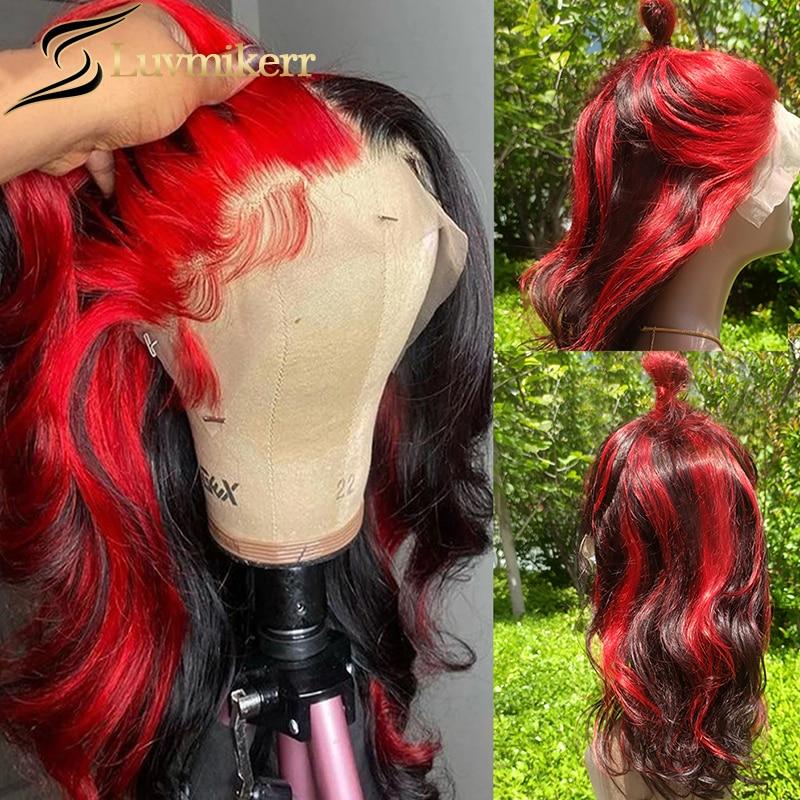 Омбре 99J цвет Бургунди хайлайтер 13x6 человеческие волосы кружевной фронтальный парик Полный предварительно выщипанный Отбеленный узел тела...