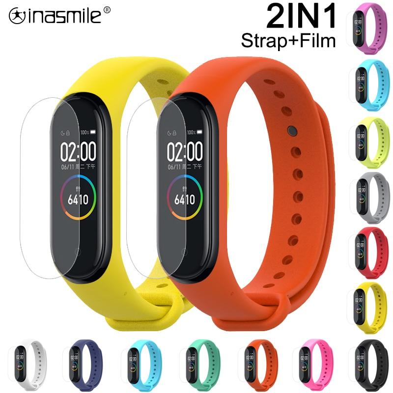 Pretty Silicone Wrist Strap For Xiaomi Mi Band 3 4 Sport Strap watch  For xiaomi mi band 2 3 4 bracelet+Screen Protector