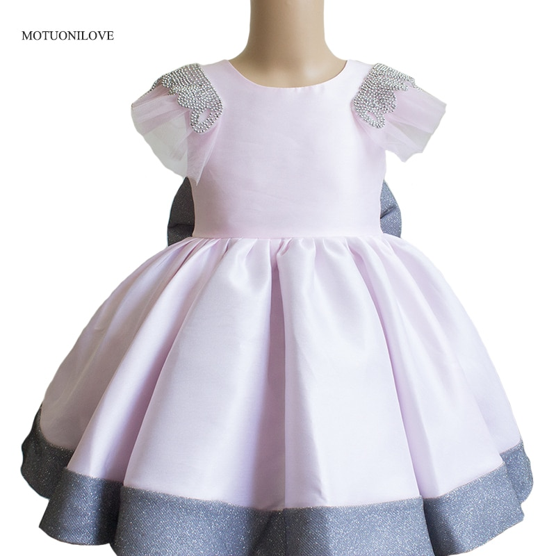 Princess Girls Pageant Dresses Short Mini Kids Prom Puffy Dress With Bow Children Wedding Party Evening Dress Size Age 2-12Year children flower girls dress princess kids dress with bow summer flower girls wedding party clothes kids prom gowns with necklace