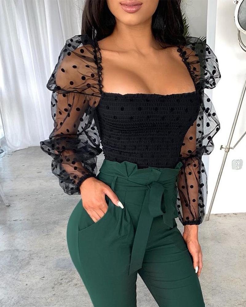 Mulher polka dot sheer malha puff manga longa topos senhora casual camiseta magro preto ver através t-shrts para mulher