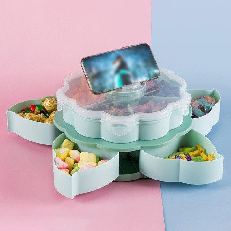 البتلة الشكل الدورية اقفاص الوجبات الخفيفة الجدول الحلوى وجبات خفيفة صينية تخزين طبقات مزدوجة المنزلية LXY9