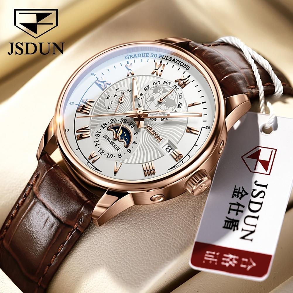 JSDUN Men Mechanical wristwatches Moon Phase Automatic Luxury Mens Watches Fashion Casual Business Man Watch Gift Sport Clock