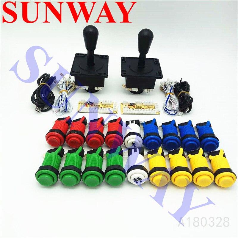 Free shipping diy arcade stick or Arcade Joystick kit for Mame Zero Delay USB Encoder Joystick American style long Push Button