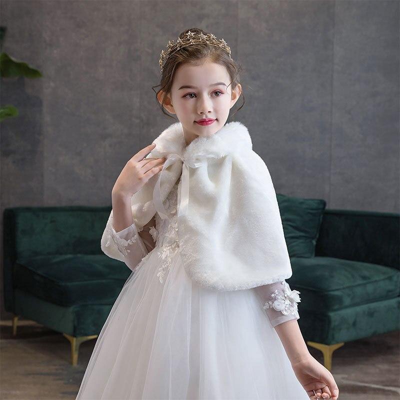 Abrigo de invierno para niña, Bolero para boda, capa de piel sintética para niños, capa cálida para boda, chal, encogimiento de hombros, para bebé, niña, vestido de fiesta, capa Bolero