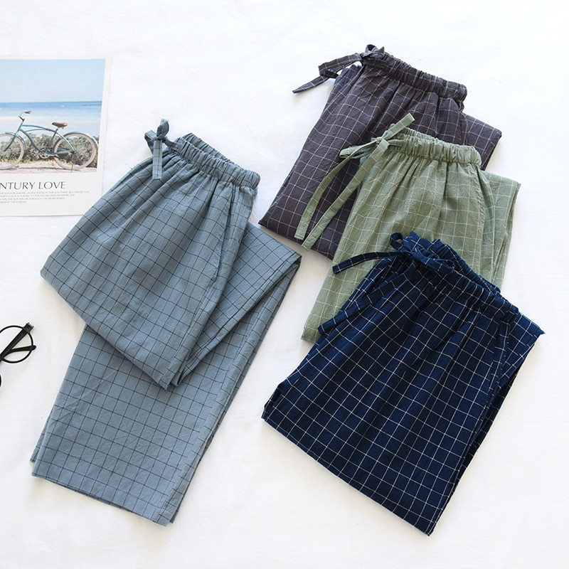 couple washed cotton trousers thin men and women home pants Elastic Waist Sleep Bottoms Plaid lounge