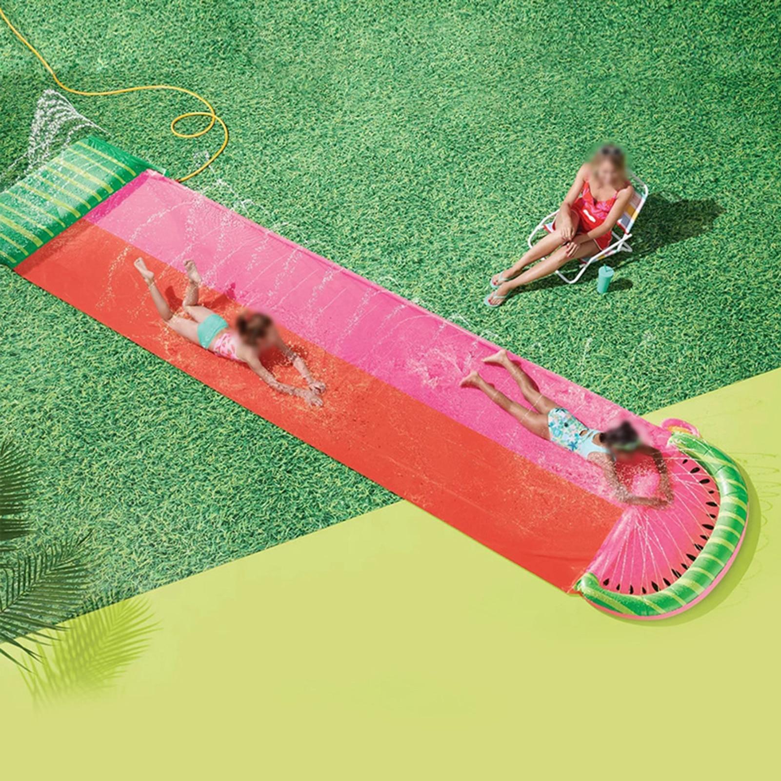 Kid Water Slide Fun Lawn Water Slide Inflatable Crash Pad Safe Water Slide Spray Paddling Pool Surf Summer PVC Games Center