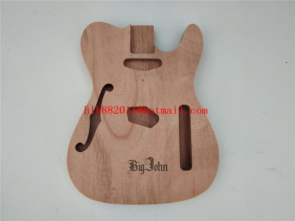 6 Strings Electric Guitar F hole Mahogany Body,Semi Hollow Body For TL Electric Guitar No Paint BJ-350