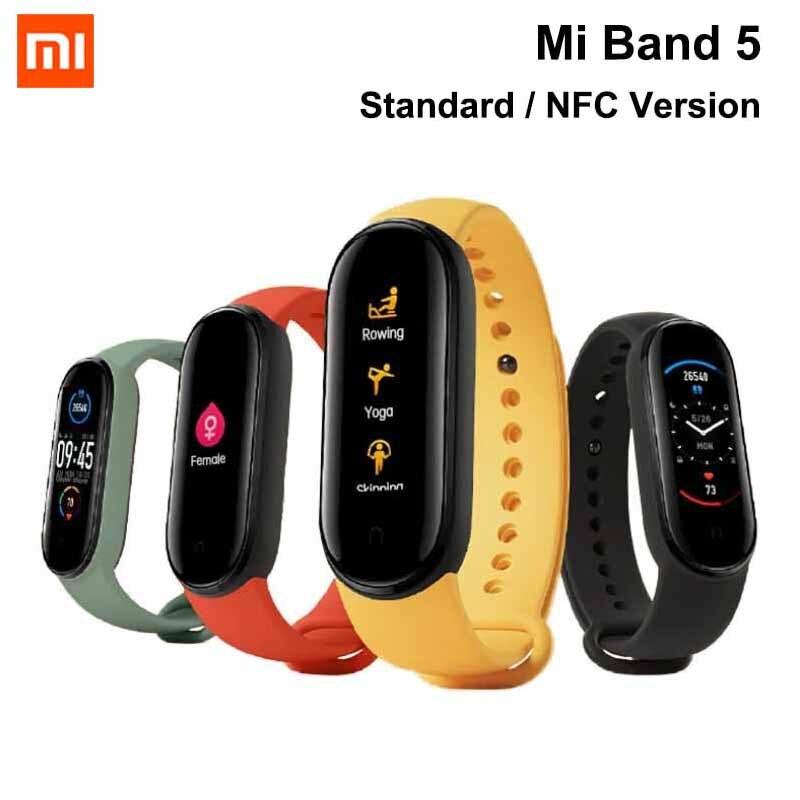 Original Xiaomi Mi Band 5 NFC Amoled Wristband Customized Watch Face 11 Sport Modes Tracker Smart Watch On Wrist