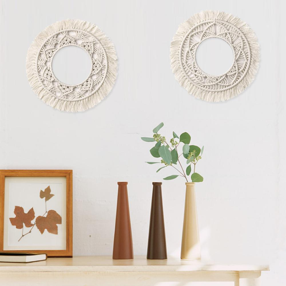 Ronda Bohemia hecho a mano con flecos MARCO DE ARTE macramé telón de fondo pared para la decoración de la sala de estar hogar tapiz de pared