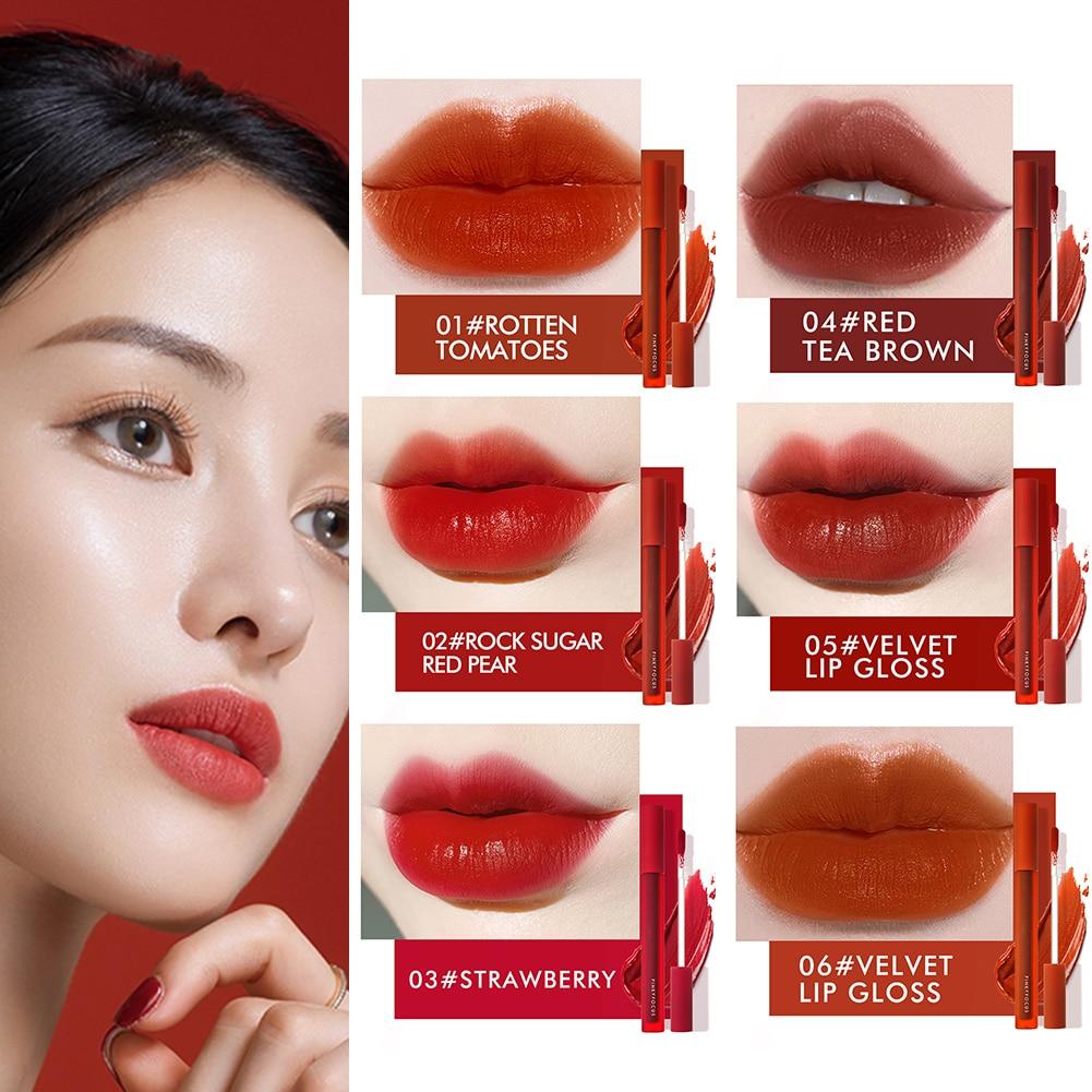 6 Colors Liquid Lipstick Matte Velvet Lip Glaze Waterproof Long-lasting Moisturizing Gloss Non-stick Cup dropship