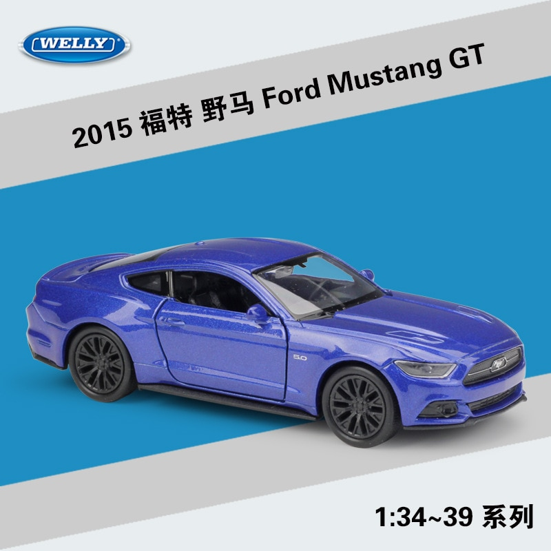 Welly 136 2015 Ford Mustang GT modèle de voiture en alliage véhicule rétractable recueillir des cadeaux Non-télécommande type jouet de transport