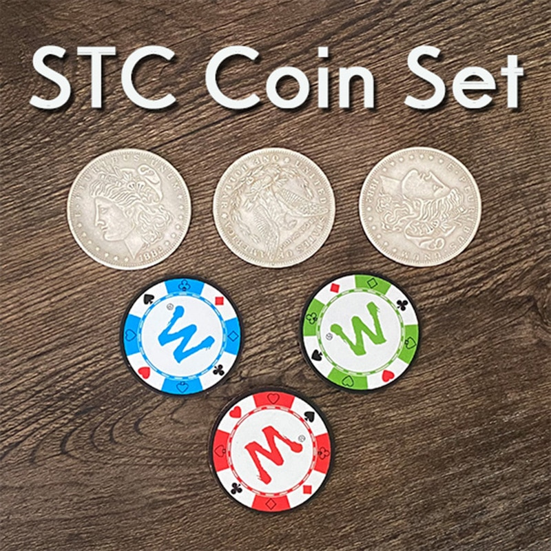 STC Coin Set Magic Tricks Coin Change Penetrate Magia Close Up Illusions Gimmick Props Multiplying Silver Coins to Chip Magica digital dissolve morgan version magic tricks stage close up magie coin visually change magie gimmick props trucos de magia