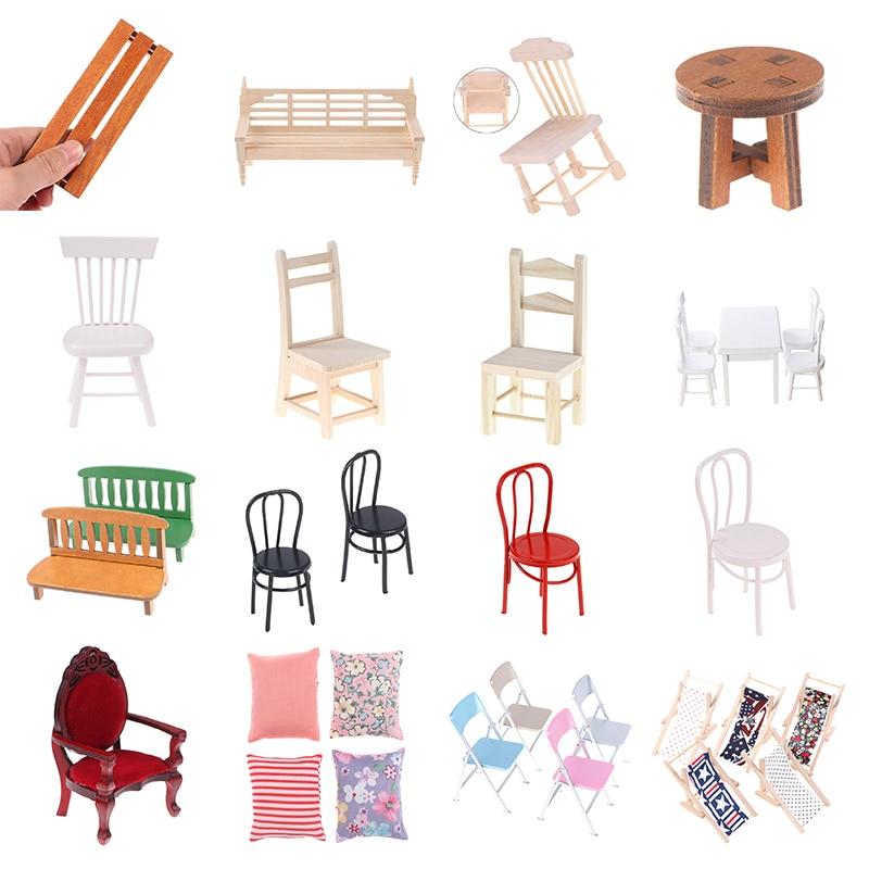Миниатюрная мебель для кукольного домика, модель стула, украшение для кукольного домика, украшение, мини аксессуары, детские игрушки, подар...