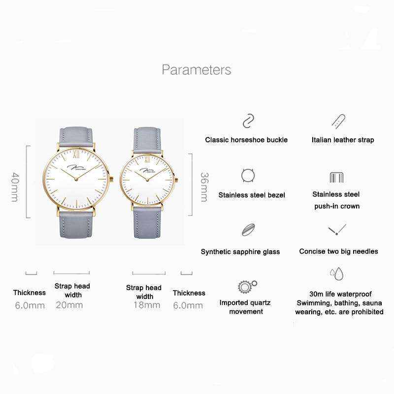 Couple Watch 36mm/40mm Ultra-thin Large Dial 10 Second Quick Release Leather Wristband Design Minimalist Quartz Watch enlarge