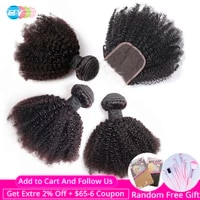 brazilian afro kinky curly 3bundles with closure human hair bundles with closure remy hair extension by hair weave bundles